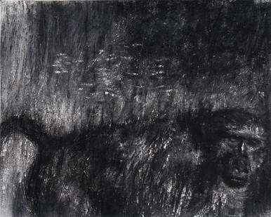 Johann Louw | Bobbejaan aan die Verby Kom | 2017 | Charcoal on Hahnemühle | 100 x 126 cm