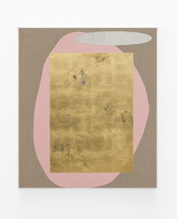 Pierre Vermeulen | Hair orchid sweat print, pink with mirror pool | 2018 | Sweat, Gold Leaf Imitate, Shellac and Acrylic on Belgian Linen | 105.5 x 90 cm