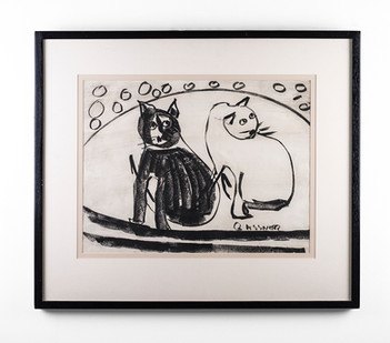 Charles Gassner   Cats   n.d.   Chalk Pastel on Paper   42.5 x 55 cm