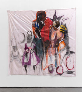 Kresiah Mukwazhi | For Better? Or For Worse? | 2017 | Painting and MIxed Media On Petticoat Linen | 206 x 207 cm