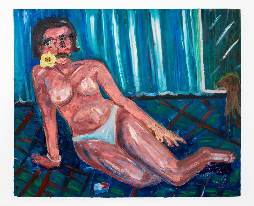 Georgina Gratrix | Reclining Woman with Flower | 2020 | Oil on Canvas | 185 x 215 cm