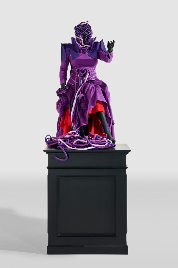 Mary Sibande | The Acsension of the Purple Figure | 2016 | Fibreglass, Resin, Fabric and Steel on Painted Wooden Plinth | 284 x 101 x 101 cm