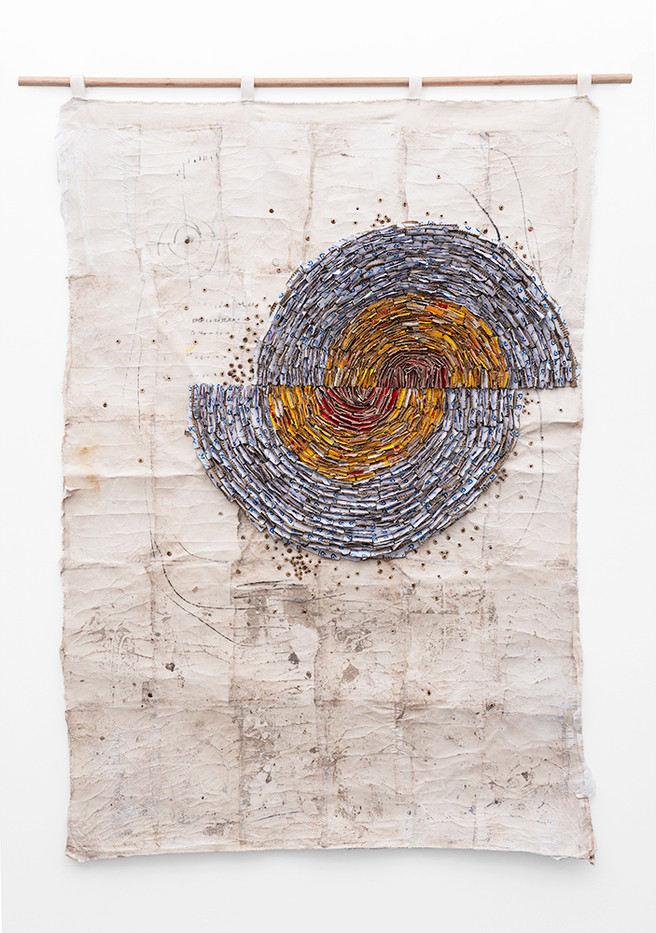 Wallen Mapondera | Moving Target | 2019 | Cardboard, Waxed Thread and Wax Paper on Canvas | 185 x 124 cm
