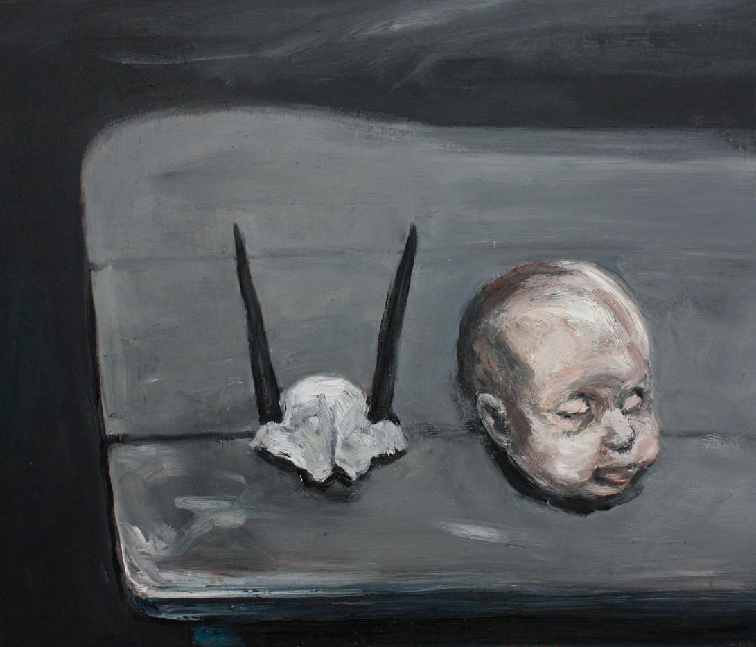 Johann Louw   Popkop en Duikertjie-Skedel (Doll's Head and 'Duiker' skull)   2012   Oil on Board   65 x 76 cm