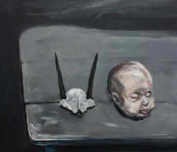 Johann Louw | Popkop en Duikertjie-Skedel (Doll's Head and 'Duiker' skull) | 2012 | Oil on Board | 65 x 76 cm