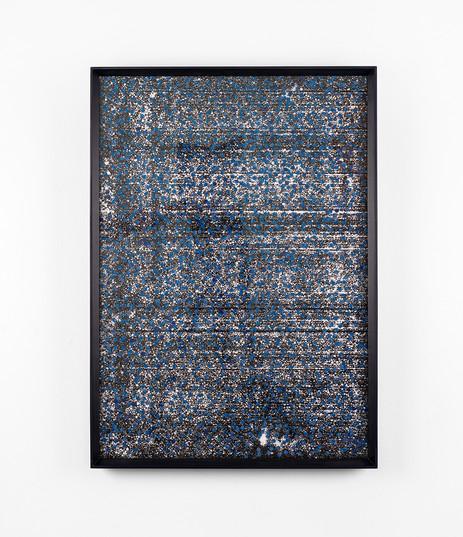 """Bonolo Kavula   """"Masego""""   2021   Acrylic, Ink & Punched Canvas on Styrofoam   60 x 40 cm"""