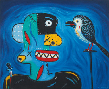 Norman Catherine | Guy with a Bird | 2012 | Oil on Canvas | 45 x 55 cm