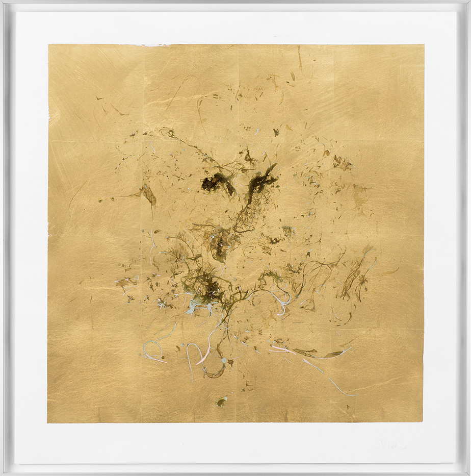 Pierre Vermeulen | Macro hair orchid sweat print, blue layer | 2018 | Sweat, Gold Leaf Imitate, Shellac and Acrylic on Stone Paper | 66 x 65.5 cm
