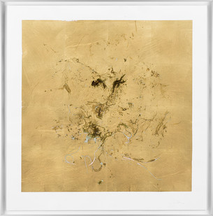 Pierre Vermeulen   Macro hair orchid sweat print, blue layer   2018   Sweat, Gold Leaf Imitate, Shellac and Acrylic on Stone Paper   66 x 65.5 cm