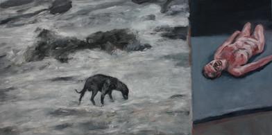 Johann Louw | Dubbelbeeld: Hond in Landskap; Naak | 2012 | Oil on Plywood | 122 x 245 cm