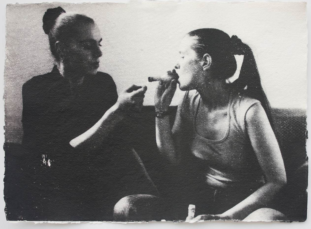 Keith Coventry | Two Girls Smoking Crack | 2001 | Silkscreen on Paper | 30 x 41.5 cm