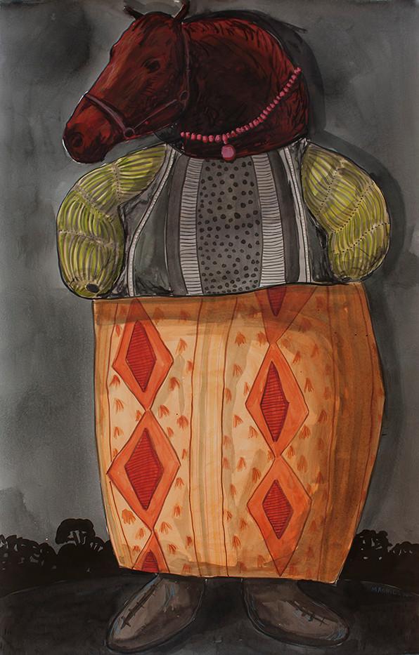 Colbert Mashile   Boxer in Fine Garb III   2014   Watercolour on Paper   125 x 79.5 cm