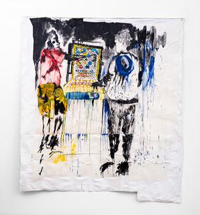 Gareth Nyandoro | MuChina | 2019 | Ink on Paper, Mounted on Canvas | 260 x 240 cm