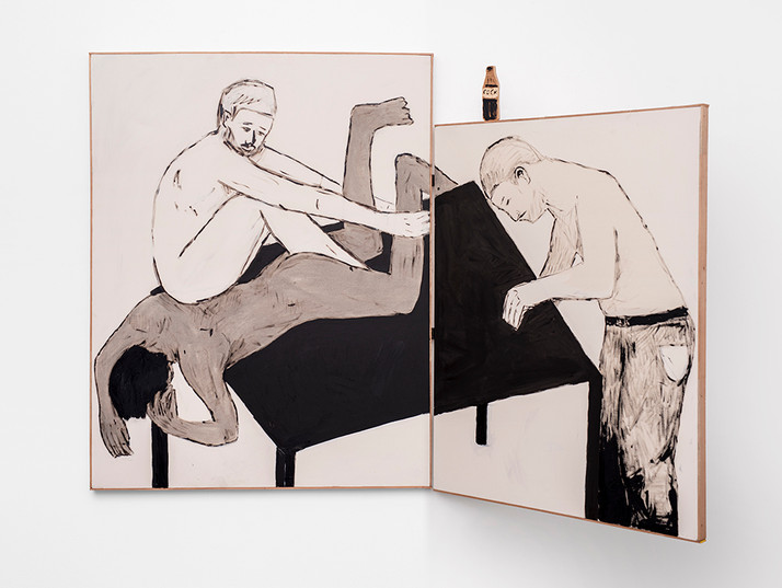 Brett Seiler   To break the legs of the table   2021   Bitumen, Roof Paint on Canvas with Hinge   166 x 255 cm