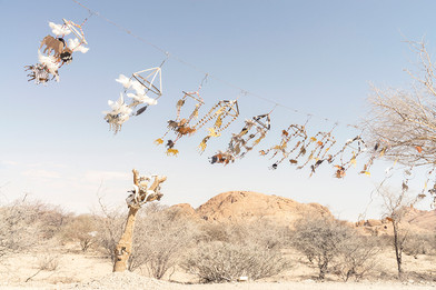 Margaret Courtney-Clarke | 'Noah's Ark in a Sandstorm. (Mobiles by Moreen ǂEichas)', ǂGaingu Conservancy, 17 July 2018 | 2018 | Giclée Print on Hahnemühle Photo Rag Paper | 74.5 x 112 cm | Edition of 6 + 2 AP