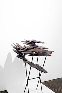 Usha Seejarim | Progressive Flower (Side View) | 2021 | Reclaimed Ironing Bases, Paint and Steel | 100 x 80 x 80 cm