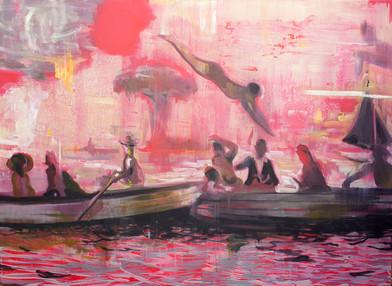 Kate Gottgens | Sea Ablaze | 2015 | Oil on Canvas | 130 x 220 cm