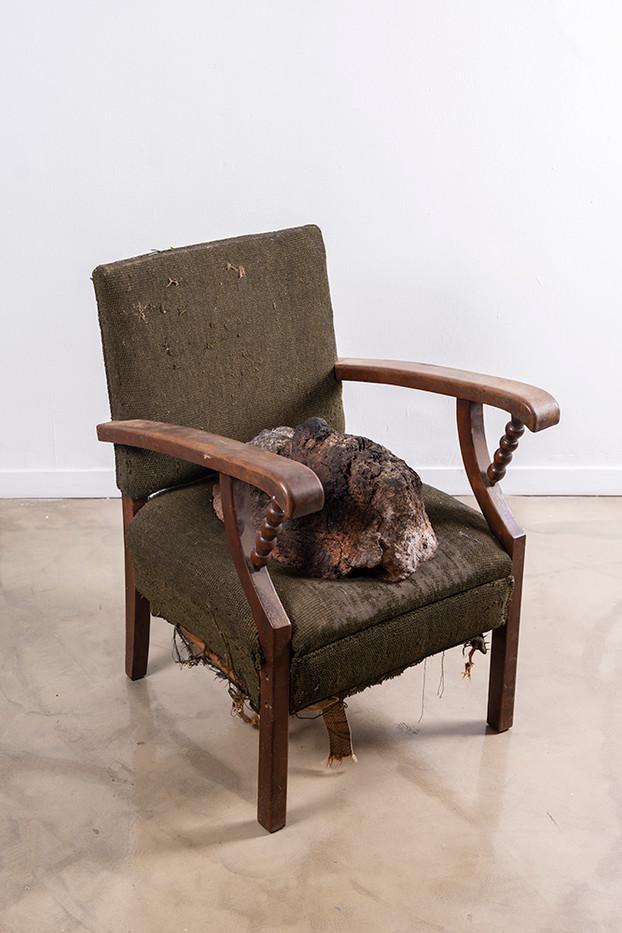Johann Louw   Huisraad 2   2019   Fired Clay, Found Chair   85 x 60 x 69 cm