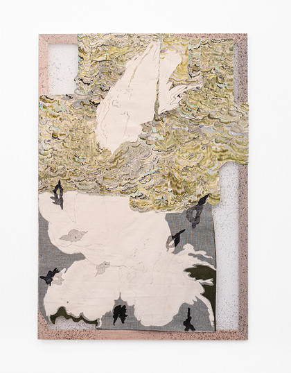 Jeanne Gaigher   cocoon 2   2020   Acrylic, Ink on Canvas and Scrim   150 x 103 cm