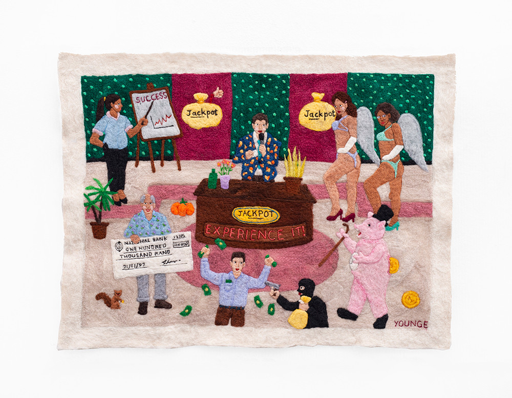 Michaela Younge   There was a rumour that Chris Tarrant was not a real millionaire   2020   Merino Wool on Felt   50.5 x 66 cm