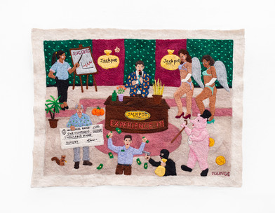 Michaela Younge | There was a rumour that Chris Tarrant was not a real millionaire | 2020 | Merino Wool on Felt | 50.5 x 66 cm