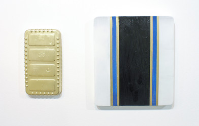 Helen A. Pritchard   Untitled - Diptych Carrier 37, Ex 5   2013   Oil and Pigment on Board, Plaster and Enamel   Sizes Variable