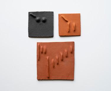 Pyda Nyariri   Pidgin Tile Set 6   2019   Fired Earthenware Clay   Dimensions Variable