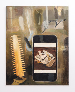 Simon Stone | Cell Phone | 2017 | Oil on Board | 111.6 x 93 cm