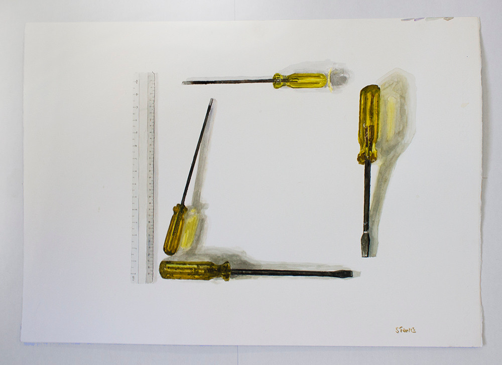 Simon Stone | Screwdrivers and Ruler | 2015 | Watercolour on Paper | 50 x 70 cm