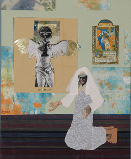 Peter Clarke | The Annunciation | 1987 | Mixed Media Collage | 44 x 31 cm