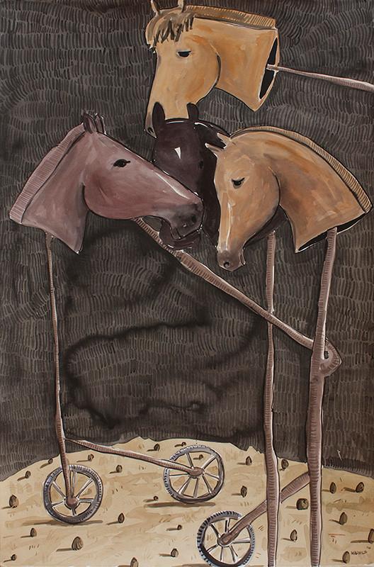 Colbert Mashile   The Victors   2014   Watercolour on Paper   121 x 80 cm