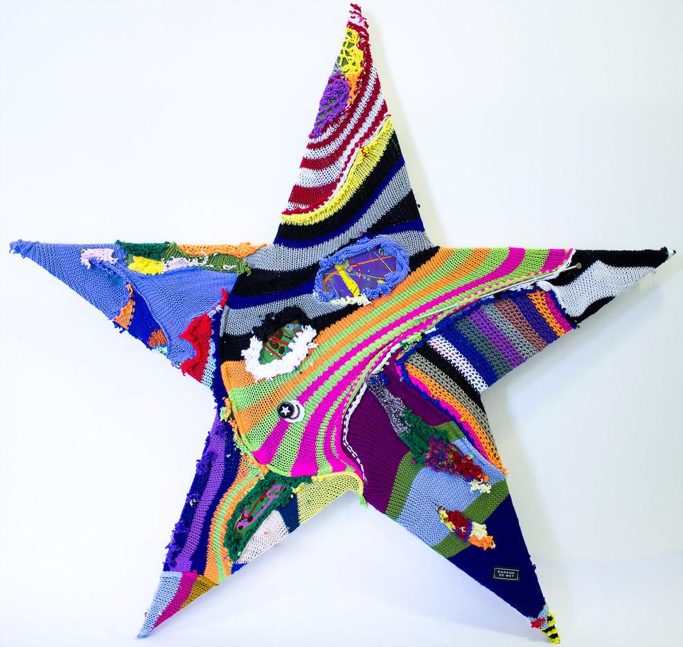 Barend De Wet | International Star I | 2015 | 100% Acrylic Knitting and Paint on Board | 101 x 114.5 cm