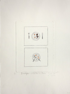 James Birch | Breakfast with Francis Bacon | 2014 | Hand Coloured Etching | 37.5 x 28 cm | Edition of 10