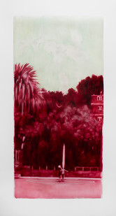 Ruby Swinney | The Abduction | 2016 | Oil on Tracing Paper | 137 x 67 cm