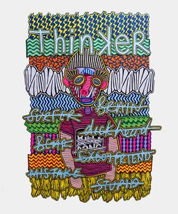 Jody Paulsen | Thinker | 2017 | Felt Collage | 208 x 152 cm