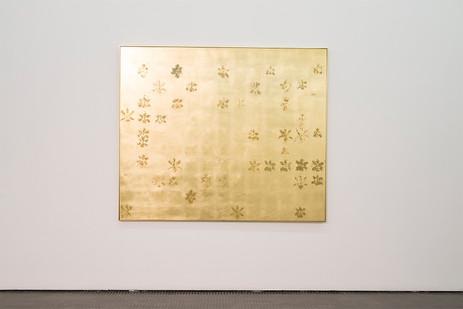 Pierre Vermeulen | 143|44 Hair Orchid Print | 2017 | Gold Leaf Imitate on Aluminium, Sweat | 150 x 179 cm