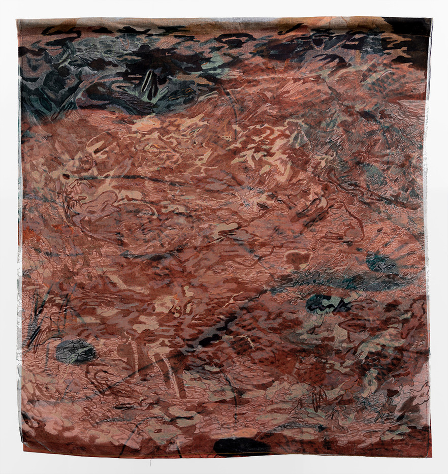 Jeanne Gaigher | Thank You Sand | 2019 | Bookbinding Cloth, Thread, Pigment Print on Canvas, Ink, Dye | 136 x 128 cm
