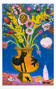 Georgina Gratrix | Pink Pop (Still Life with Hylton Vase and cheese curls ) | 2019 | Oil on Canvas | 190 x 120 x 3.5 cm