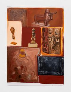 """Phoka Nyokong   """"Ditso tsa Lefatshe le Lengwe"""" (Cultures of the """"Otherworld"""")   2021   Oil on Fabriano Paper   100 x 71 cm"""