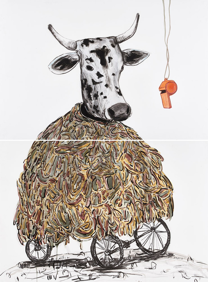 Colbert Mashile   Mollie's Lament   2015   Mixed Media on Paper   153 x 113.5 cm