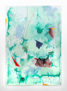 Mongezi Ncaphayi | Sanctified blues I | 2019 | Indian Ink and Watercolour on Cotton Paper | 199 x 140 cm