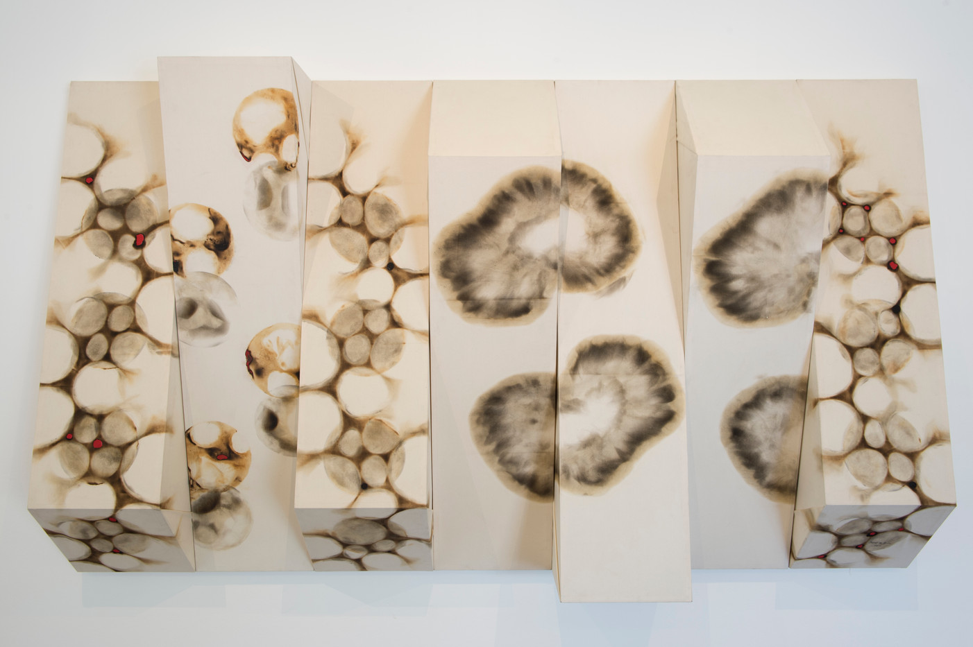 Sandile Zulu | Spinal Diagnoses | 2014 | Fire, Water, Air and Earth on Canvas | 145 x 287.5 x 32 cm