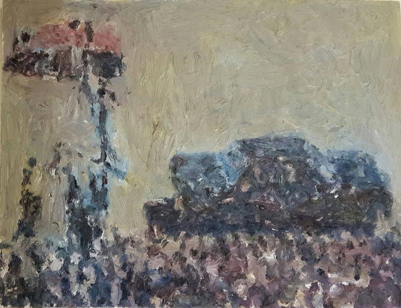 Anton Karstel | Official Car and Podium | 2015 | Oil on Canvas | 36 x 38 cm