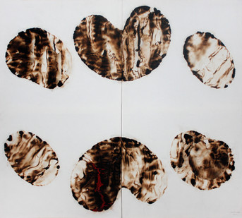 Sandile Zulu | Artoms Archetype Forms no 10 | 2012 | Fire, Water, Air and Earth on Canvas | 160 x 145 cm