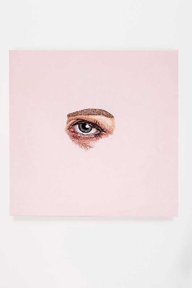 Frances Goodman | Bette Davis Eyes | 2018 | Hand-Stitched Embroidery on Satin | 45 x 45 cm