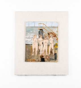 Simon Stone | Four Nudes in Studio | 2020 | Oil on Cardboard | 25 x 21 cm