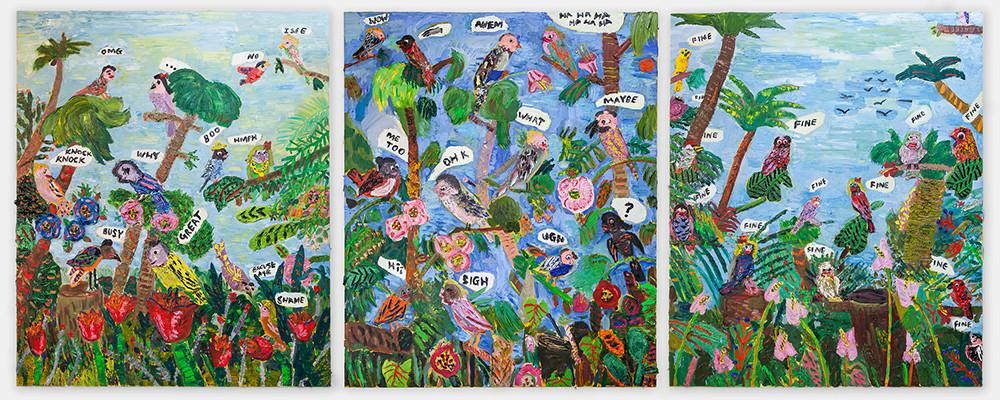 Georgina Gratrix | A Lovers Discourse (1, 2, and 3) | 2017 | Oil on Canvas | 180 x 450 cm