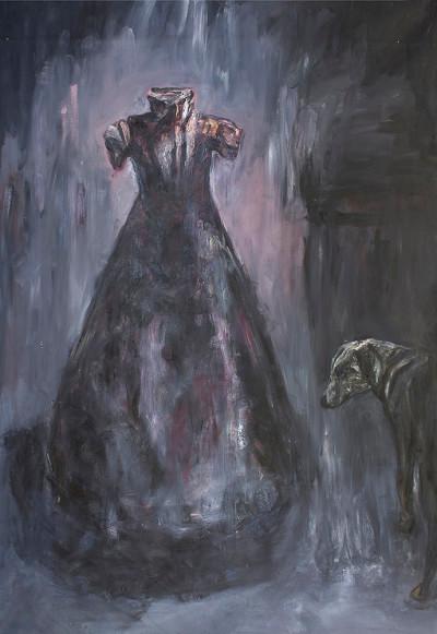 Johann Louw | Rok met Hond | 2015 | Oil on Canvas | 278 x 199 cm