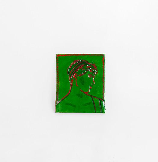 Githan Coopoo | Coaster (Green Greek Boy) | 2020 | Clay and Acrylic Paint | 9.5 x 8 x 0.5 cm