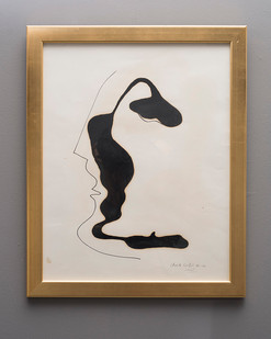 Christo Coetzee | Head | n.d. | Felt, Pen and Oil | 63 x 49.5 cm